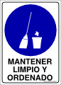 Letrero mantener limpio y ordenado for Cuarto ordenado y limpio